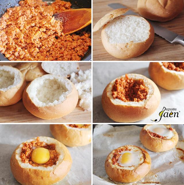 Huevos en nido de pan con picadillo de chorizo (4)