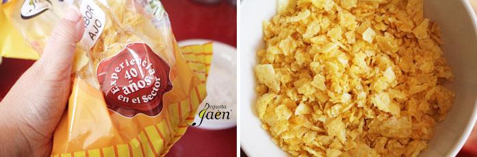 Pollo rebozado en patatas chips