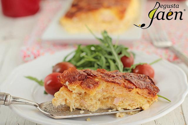 Pastel patatas, jamon, queso Santo Reino