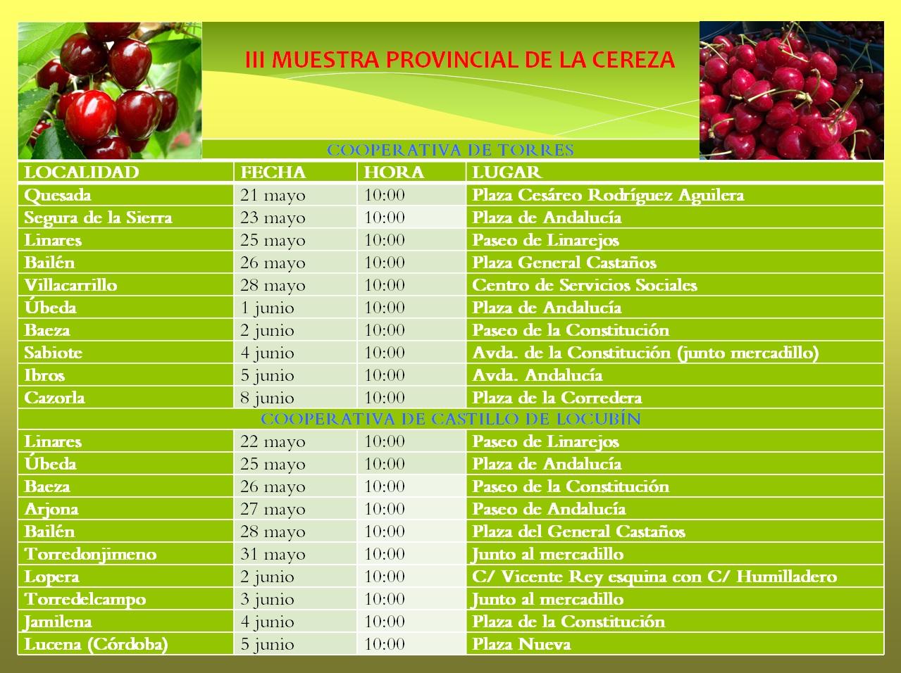 Calendario III Muestra cereza 2015