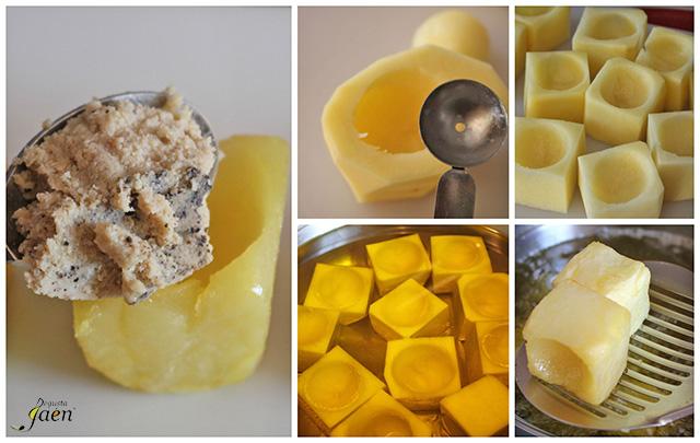 Cubos de patata rellenos de crema de lomo (1)