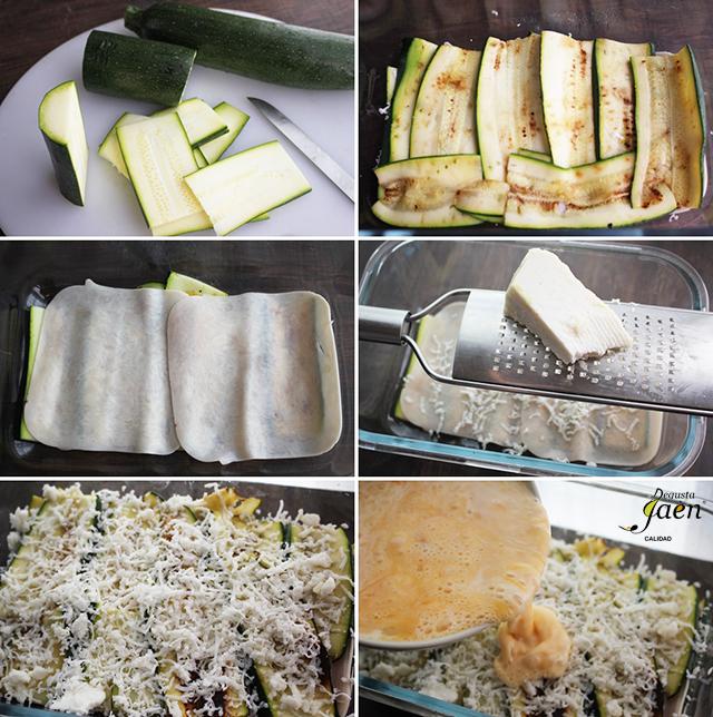 Pasos lasaña calabacin y queso