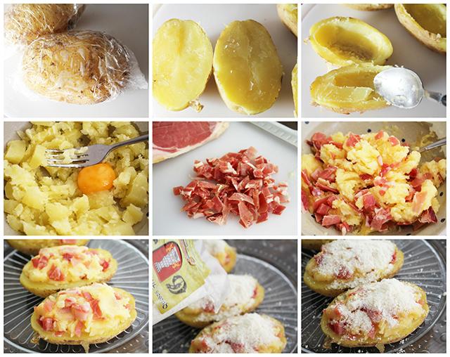 Patatas rellenas jamon y queso pasos