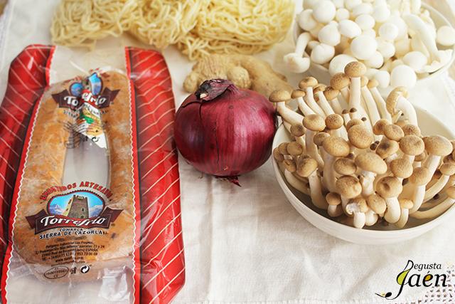 Fideos chinos morcilla Degusta Jaen Ingredientes