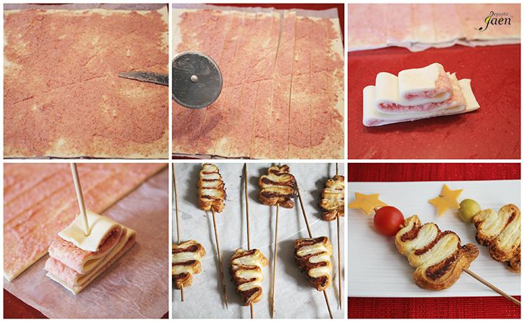 Arbolitos navidad hojaldre y crema salchichon Degusta Jaen
