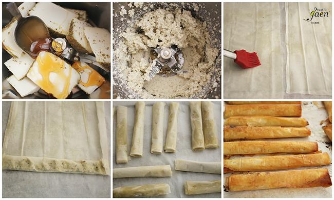 Crujientes de queso al romero con miel Degusta Jaen pasos