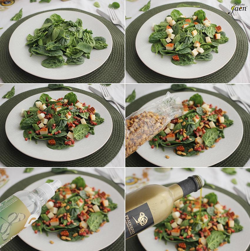 Ensalada de espinacas Degusta Jaen pasos