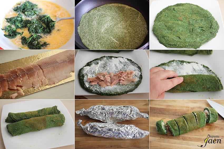 Rollitos de tortilla de espinacas y trucha ahumada Degusta Jaén pasos