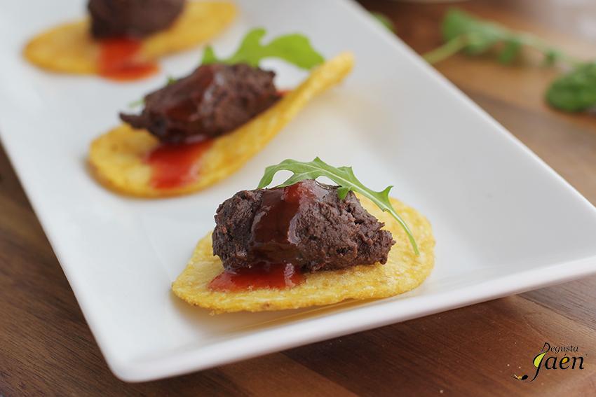 Patata, morcilla y tomate aperitivo Degusta Jaen