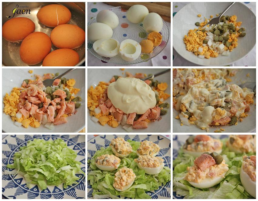 Huevos rellenos trucha y pepinillos Degusta Jaen