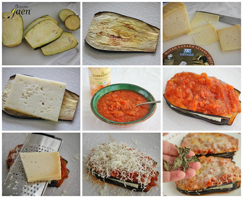Milhojas de berenjenas y queso Degusta Jaen pasos