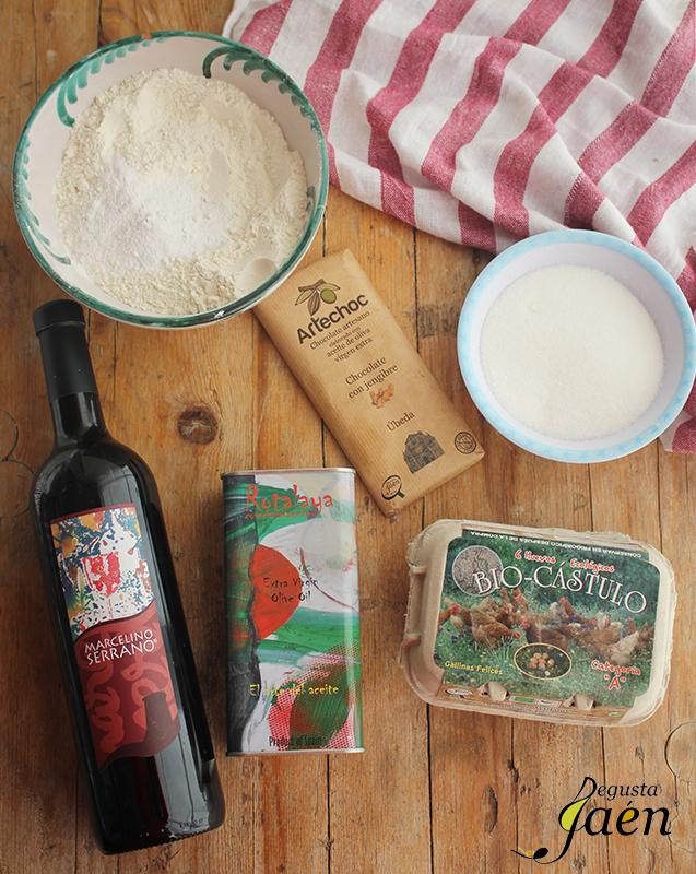Bizcocho vino tinto y chocolate Degusta Jaen Ingredientes