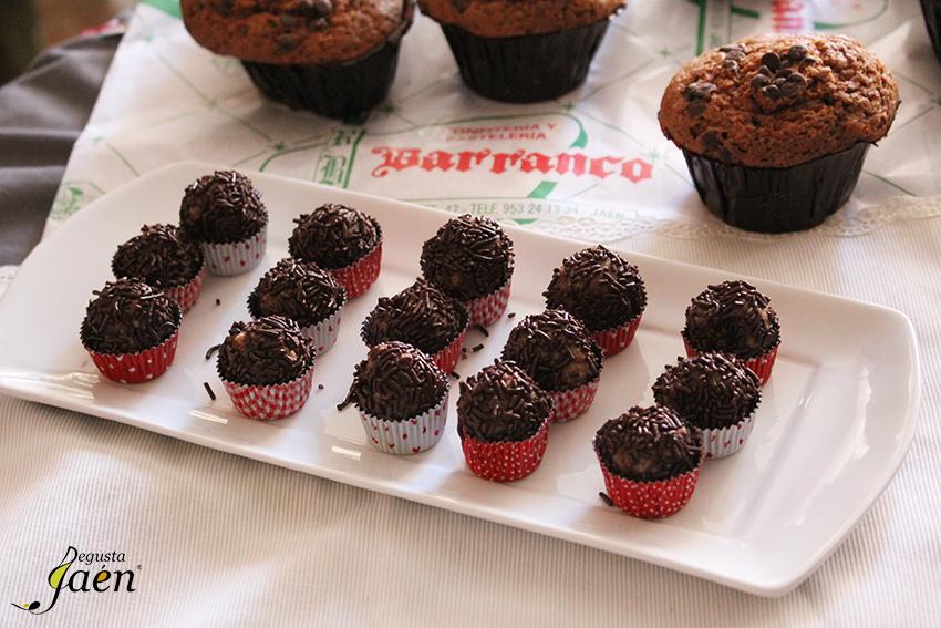 Trufas con Magdalenas de chocolate y aceite Barranco Degusta Jaen