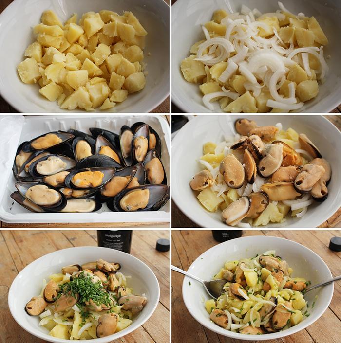Patatas con mejillones Degusta Jaen pasos