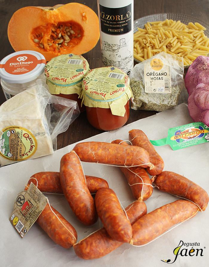 MJacarrones con calabaa y chorizo Degusta Jaen Ingredientes