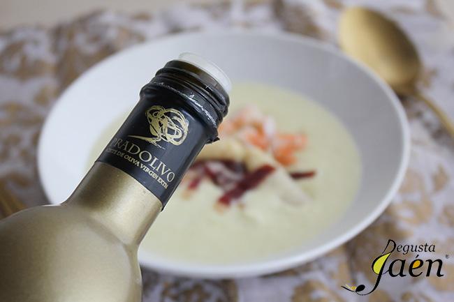 Crema de esparragos, langostinos y jamon de pato, Degusta Jaen (2)