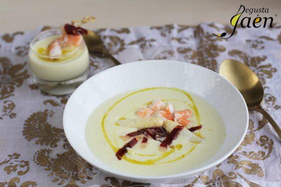 crema-de-esparragos-langostinos-y-jamon-de-pato-degusta-jaen-4