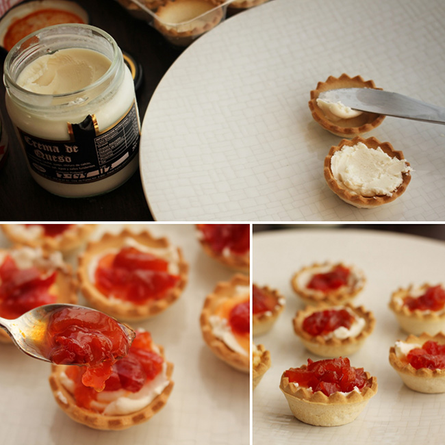 Tartaletas crema queso y pimiento caramelizado Degusta Jaen pasos
