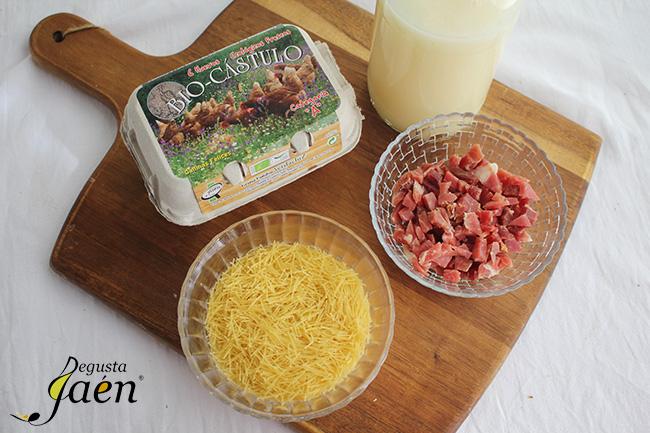Sopa de fideos con huevo y jamon Ingredientes