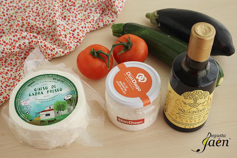 Ingredientes, milhojas de verduras con queso fresco