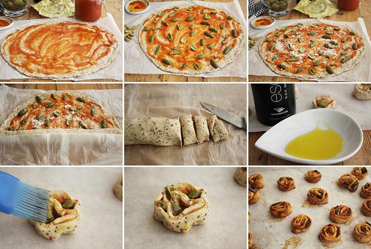 Rollitos de pizza de aceitunas de cornezuelo pasos
