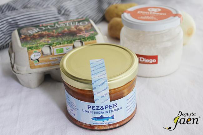 Ensalada de trucha en escabeche Degusta Jaen. Ingredientes