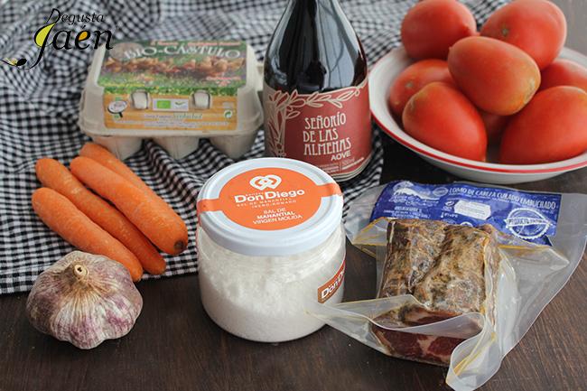 Crema fria de tomates y zanahoria con lomo Degusta Jaen Ingredientes