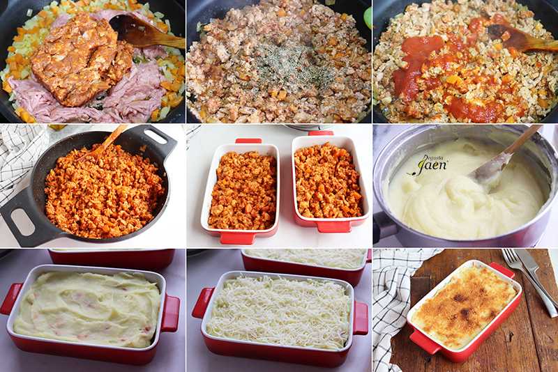 Pastel de chorizo, pollo y patata