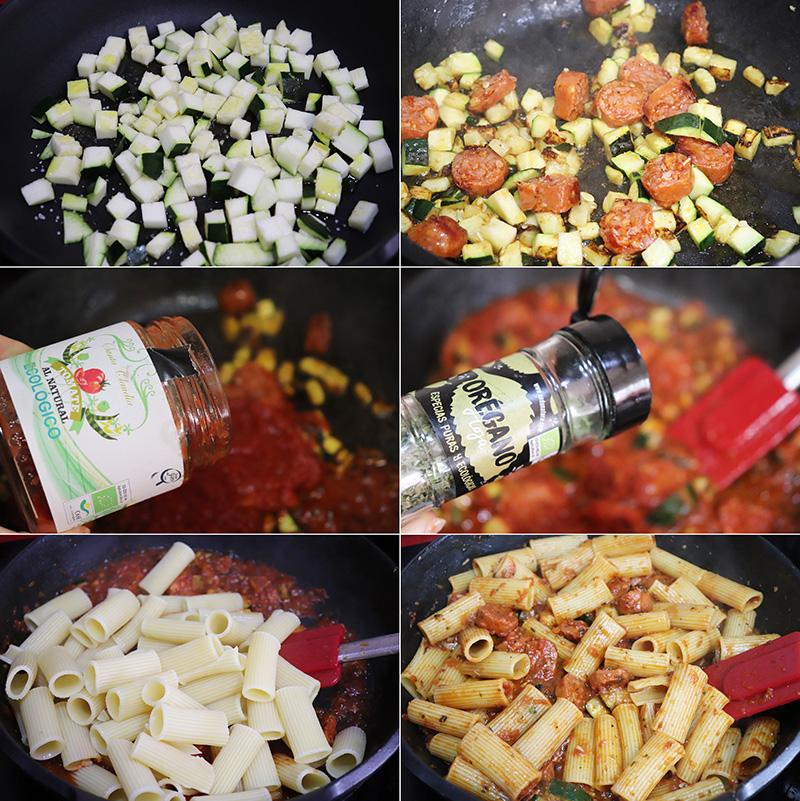 Macarrones con chorizo y calabacin