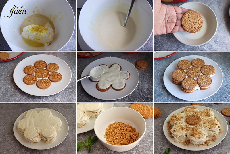 Tarta de galletas y limón