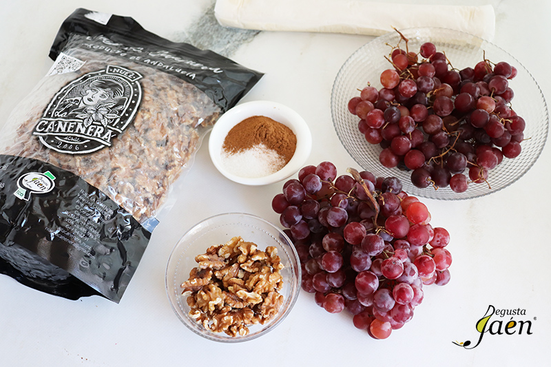 Tarta de uvas con nueces ingredientes