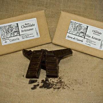 Chocolate artesano con y sin azúcar